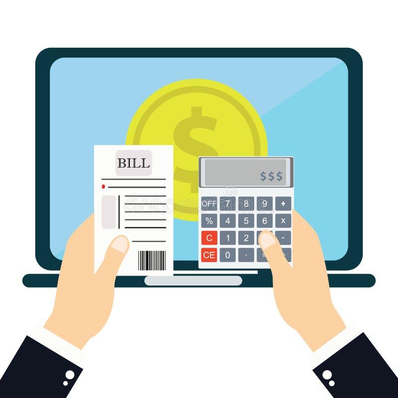 Het betalen van rekeningen, de rekeningen van de handholding Calculatorpictogram en vector illustratie