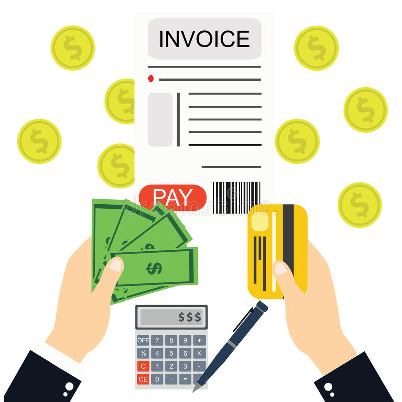 Het betalen van rekeningen en rekeningen, het geld van de handholding royalty-vrije illustratie
