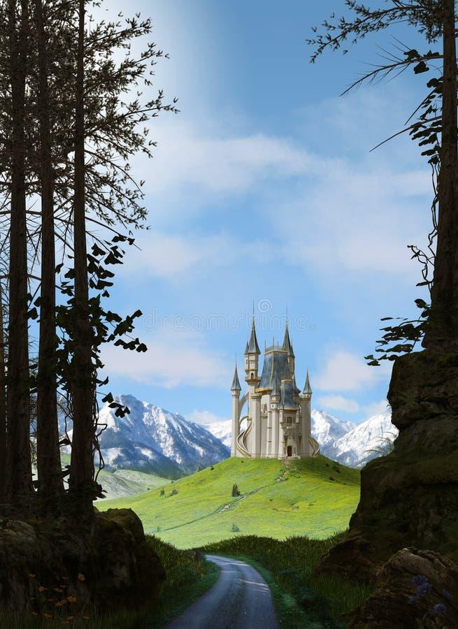 Het betoverende magische kasteel van het prinsessprookje in de bergen royalty-vrije stock foto
