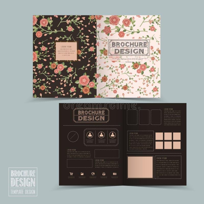 Het bevallige bloemen van het helft-vouwen ontwerp brochuremalplaatje vector illustratie