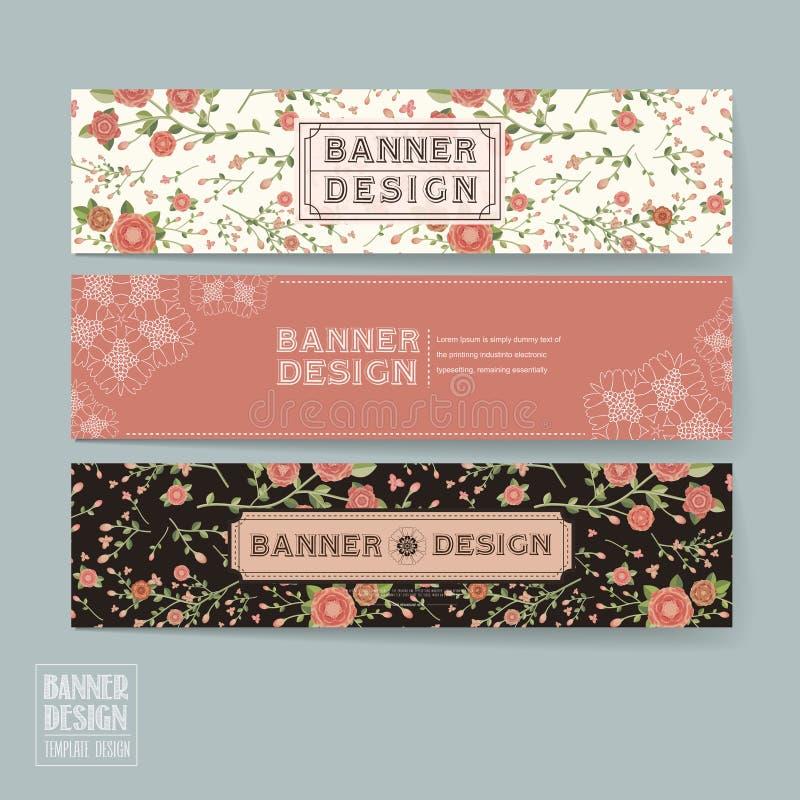 Het bevallige bloemenontwerp van het bannermalplaatje vector illustratie