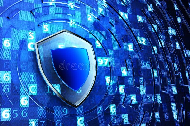 Het beveiligen, netwerkfirewall, computergegevensbescherming en informatiebeveiligingsconcept stock illustratie