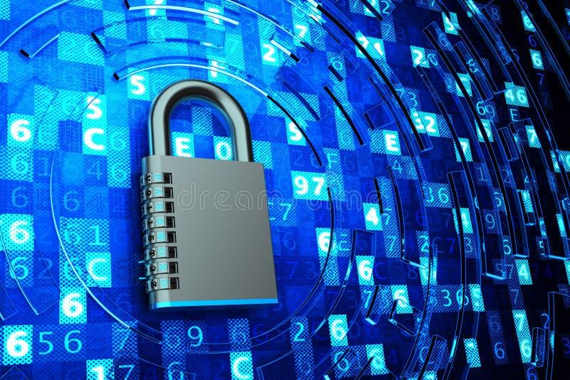 Het beveiligen, privacy, de toegang van veiligheidsgegevens, netwerkfirewall, computergegevensbescherming en informatiebeveiligin vector illustratie