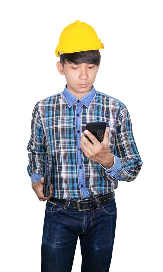 Het bevel van de zakenmaningenieur met het netwerk van de celtelefoon 5g, hoge snelheid mobiel Internet en Laptop van de handgree royalty-vrije stock fotografie