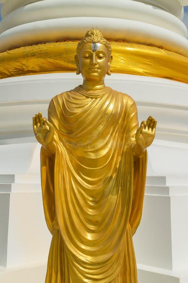 Het bevindende gouden standbeeld van Boedha en toont hand twee stock afbeelding