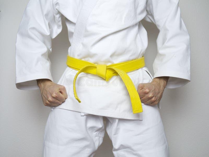 Het bevindende witte kostuum van vechters gele riem gecentreerde vechtsporten stock afbeelding