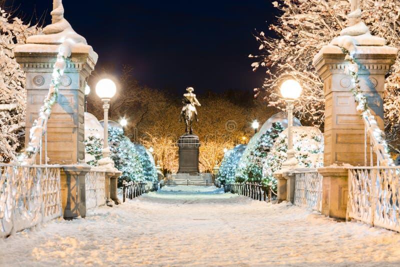 Het bevroren Gemeenschappelijke Park van Boston in de Winter stock foto