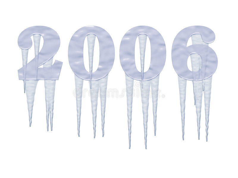 Het bevroren Jaar van 2006 met ijskegels stock illustratie
