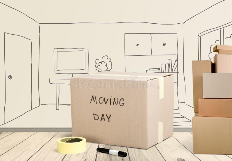 Het bewegen van huis vector illustratie