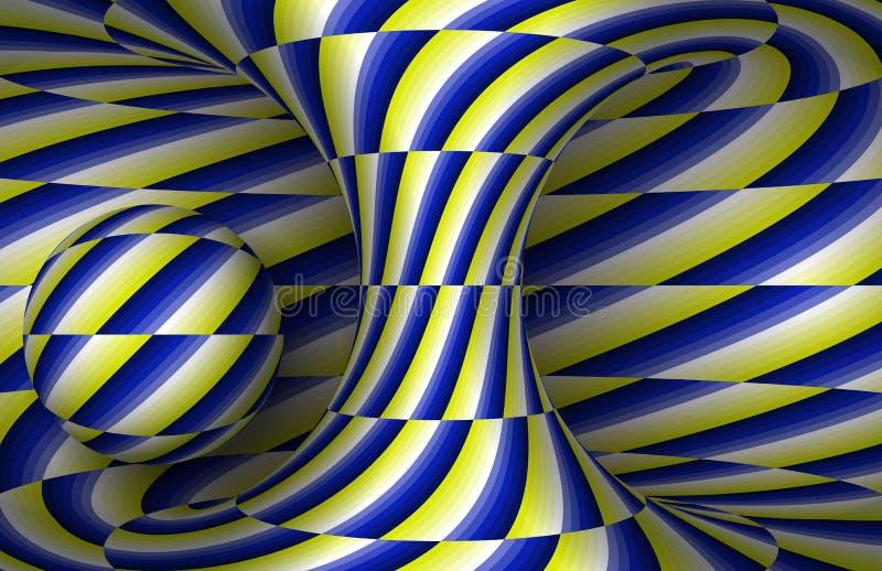 Het bewegen zich spiraalvormig hyperboloid en gebied Vectoroptische illusieillustratie royalty-vrije illustratie
