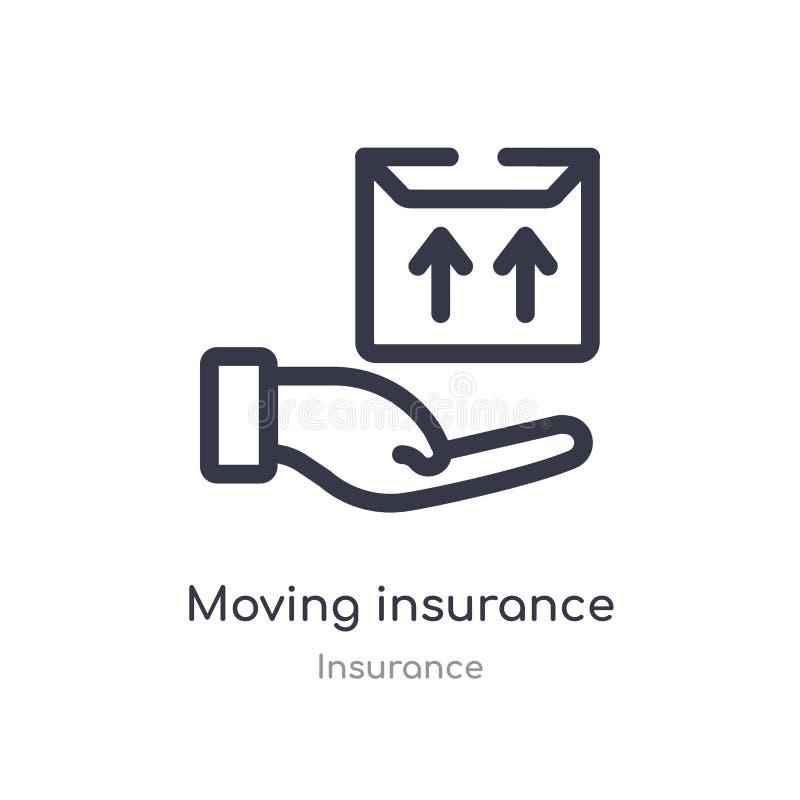 het bewegende pictogram van het verzekeringsoverzicht ge?soleerde lijn vectorillustratie van verzekeringsinzameling editable dunn royalty-vrije illustratie