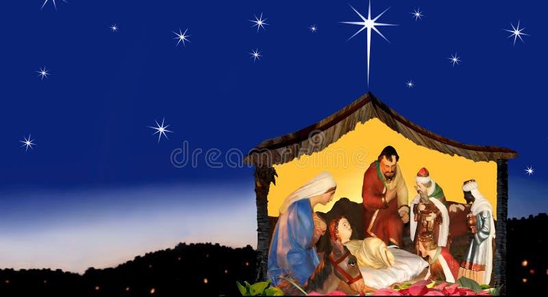 Het bewonderen & hoop van Kerstmis, geboorte van Christusscène royalty-vrije stock afbeelding