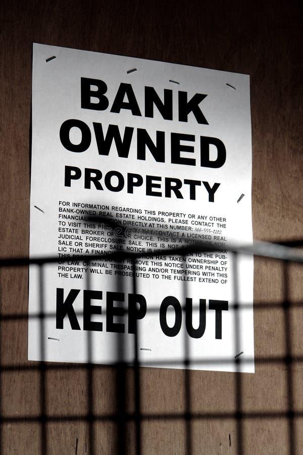 Het Bezeten Teken van onroerende goederen Bank bij de Bouw royalty-vrije stock afbeeldingen