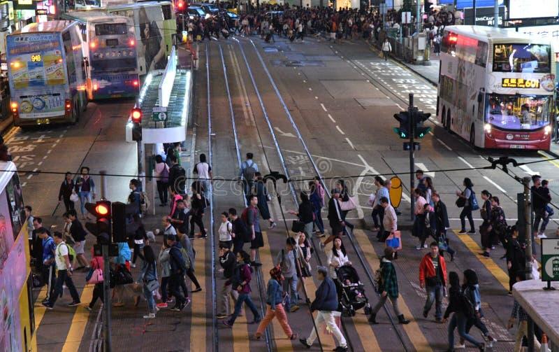 Het bezige Leven in Hong Kong stock afbeeldingen
