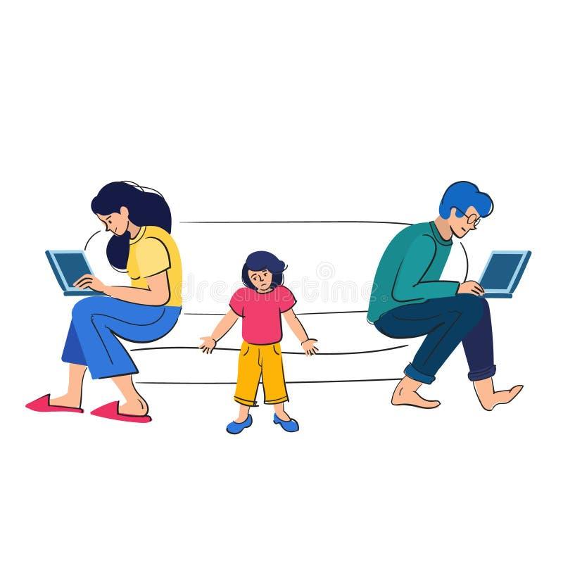 Het bezige ouderswerk achter laptops De kinderen willen aandacht van volwassenen Mensen met jonge geitjes vectorillustratie stock afbeelding