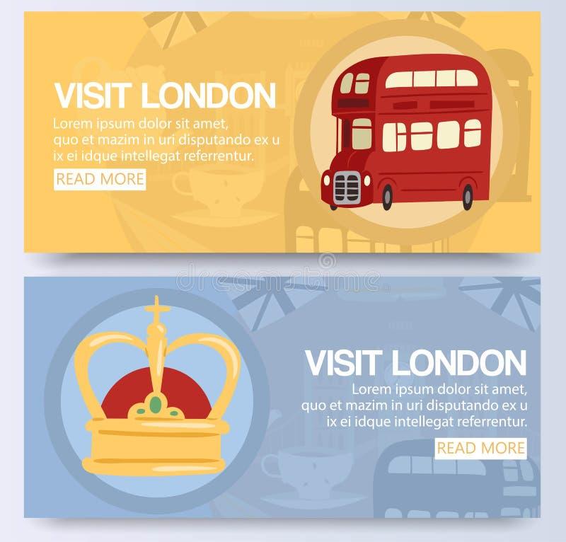 Het bezoek en ontdekt Londen op dubbele de banner vectorillustratie van de dek rode bus Voertuig van de stads het openbare vervoe vector illustratie