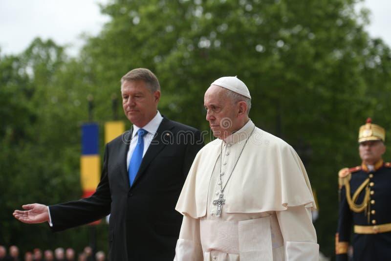 Het bezoek van pausfrancis aan Roemeni? stock afbeelding