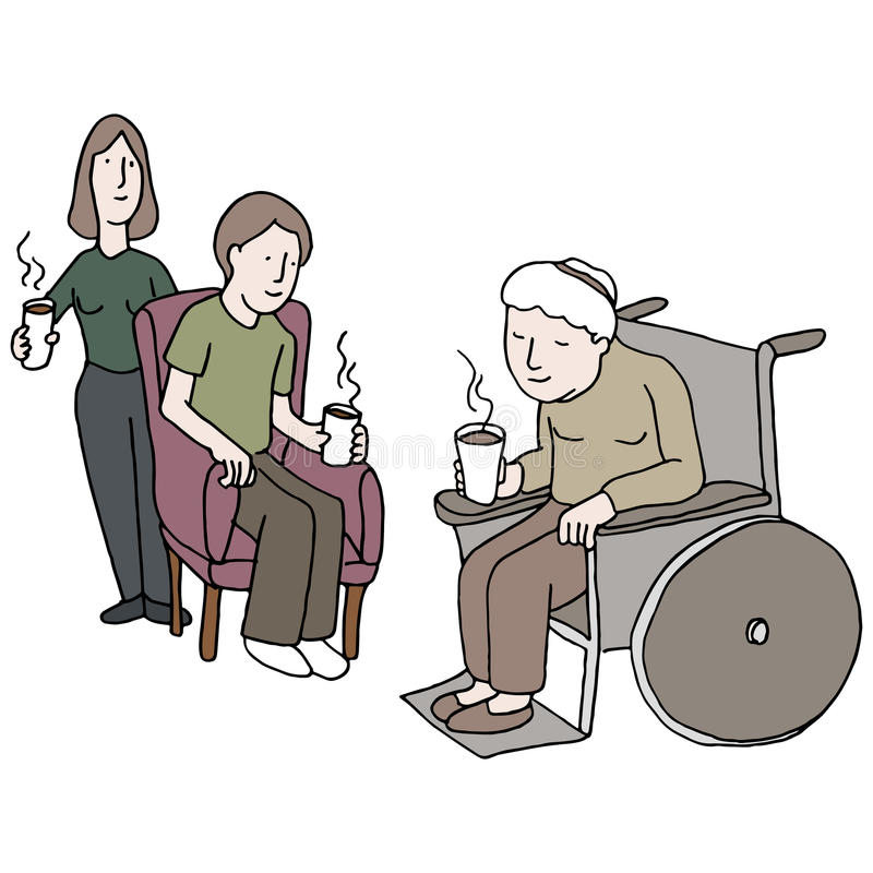 Het bezoeken Verpleeghuis vector illustratie