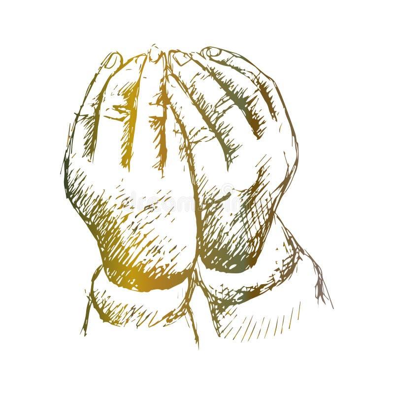 Het bidden Handen De illustratie van de handtekening royalty-vrije illustratie