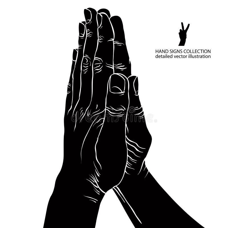 Het bidden handen, gedetailleerde zwart-witte vectorillustratie stock illustratie