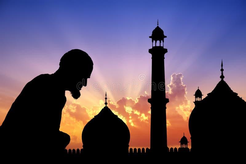 Het bidden tijd stock illustratie