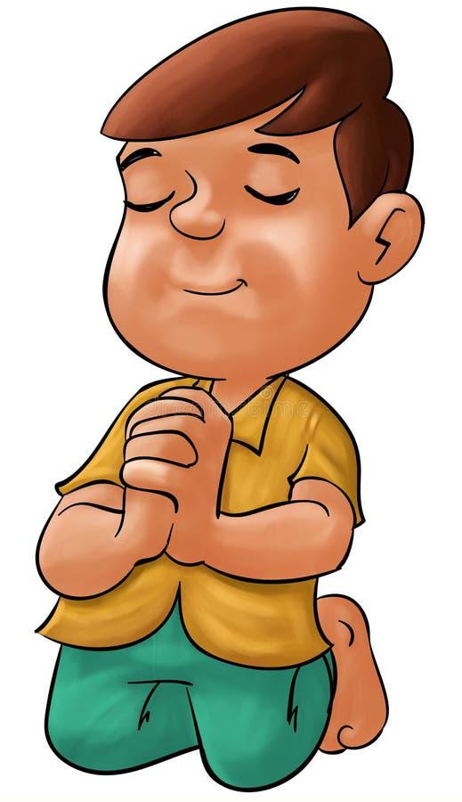 Het bidden van de jongen royalty-vrije illustratie