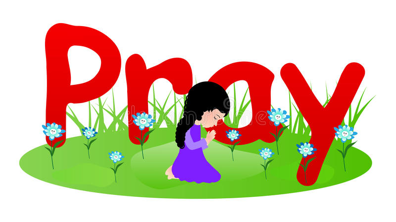 Het bidden van het meisje royalty-vrije illustratie
