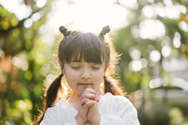 Het bidden van het meisje het jonge geitje bidt Gebaar van geloof Handen in gebedconcept worden gevouwen voor geloof, spiritualit royalty-vrije stock foto's