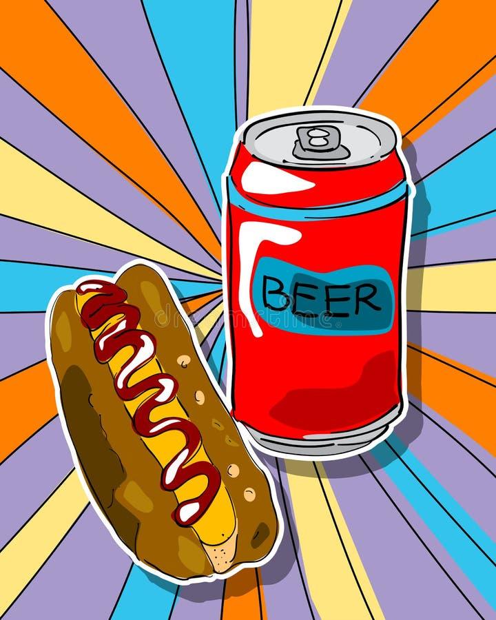 Het bier en de hotdog van het pop-art vector illustratie