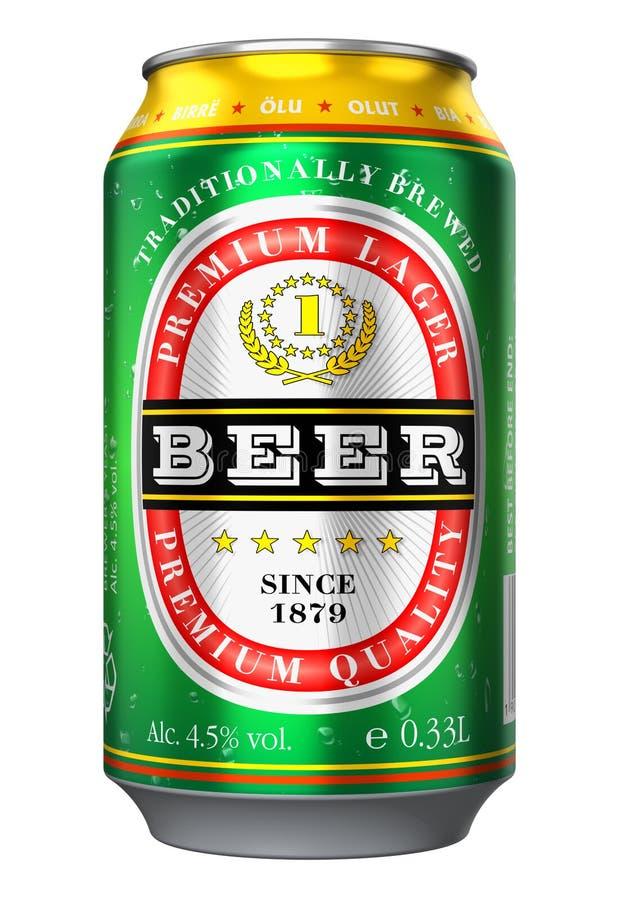 Het bier kan geïsoleerd op witte achtergrond vector illustratie