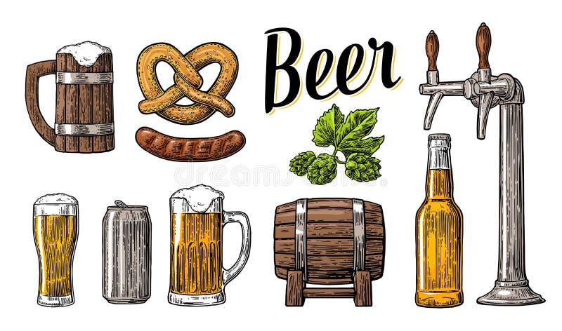 Het bier met kraan, klasse wordt geplaatst, kan, bottelen, vat, worst, pretzel en hop die Uitstekende vectorgravureillustratie vo stock illustratie