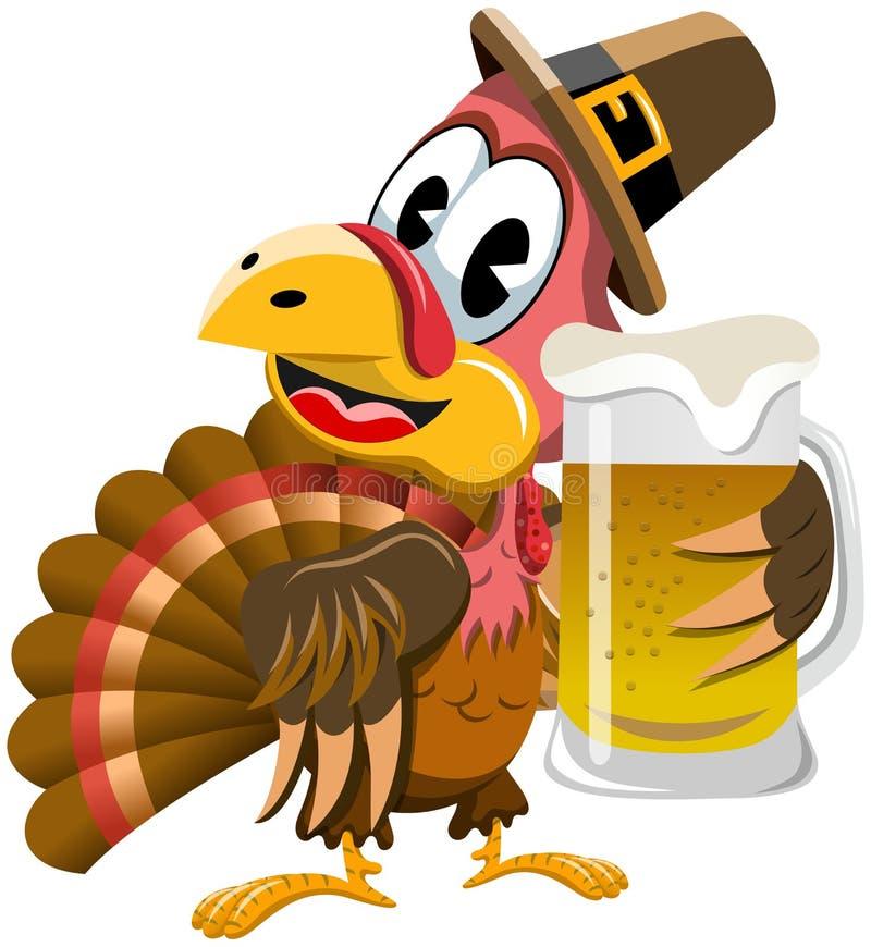Het Bier van de de Dankzeggingsmok van Turkije stock illustratie