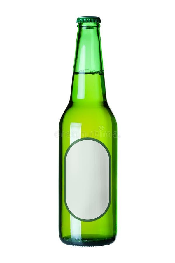 Het bier van het lagerbier in groene fles met leeg etiket royalty-vrije stock afbeelding