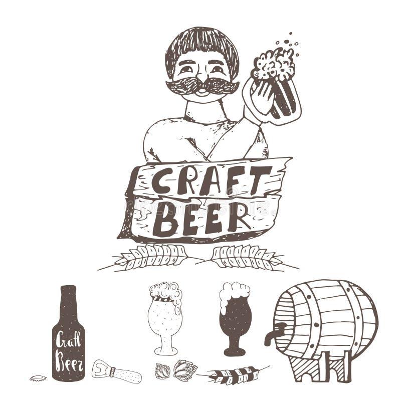 Het bierelementen van de krabbelambacht Brouwer met glas bier Vectorhand getrokken die illustratie op wit wordt geïsoleerd stock illustratie
