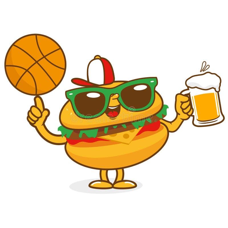 Het bierkarakter van het hamburgerbasketbal royalty-vrije illustratie