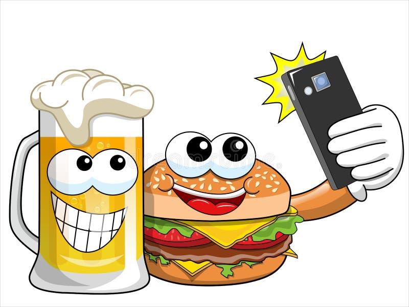 Het bierkarakters die van de beeldverhaalhamburger selfie geïsoleerde smartphone nemen stock illustratie