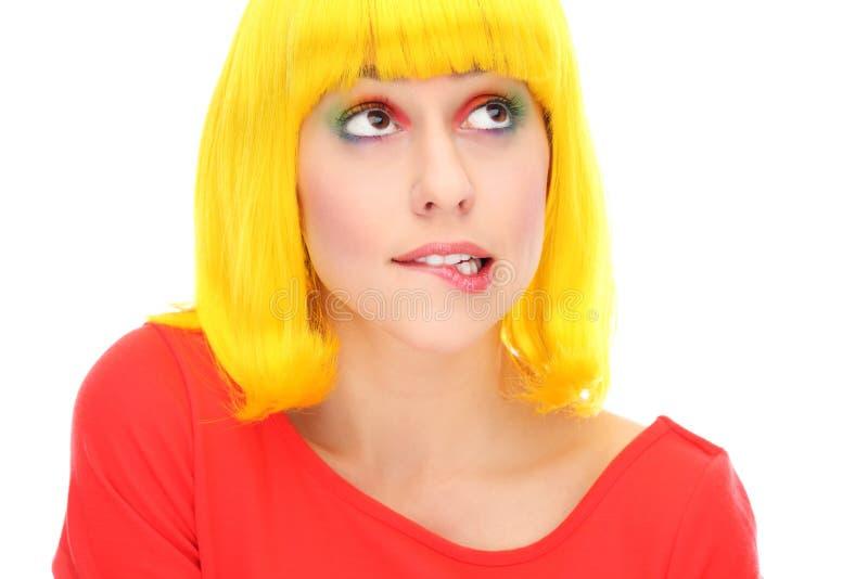 Het Bijten Van De Vrouw Lip Stock Foto's