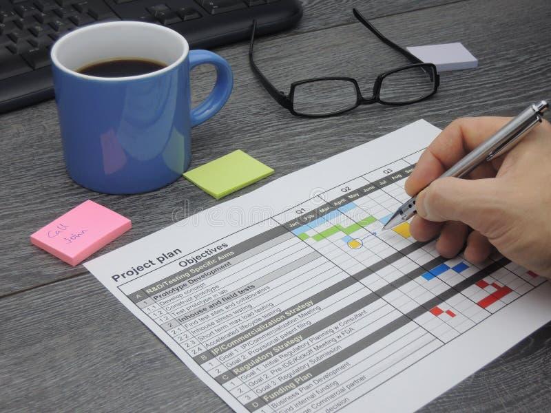 Het bijwerken van het projectplan stock afbeelding