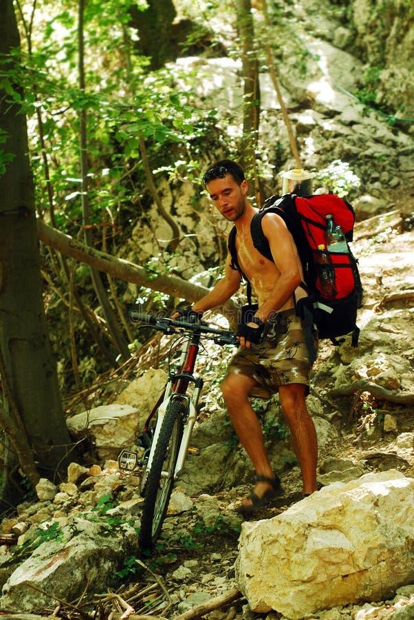 Het biking van de berg royalty-vrije stock afbeelding