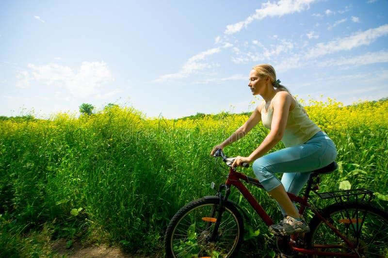 Het biking van het meisje royalty-vrije stock foto's