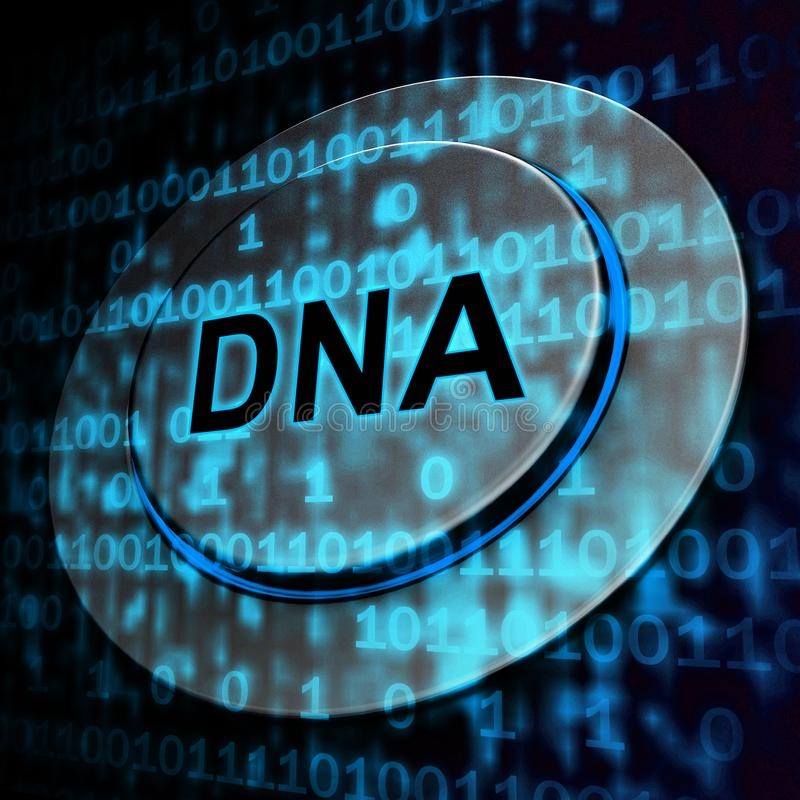 Het binaire DNA-Chromosoom Digitale Beetjes 3d Teruggeven stock illustratie