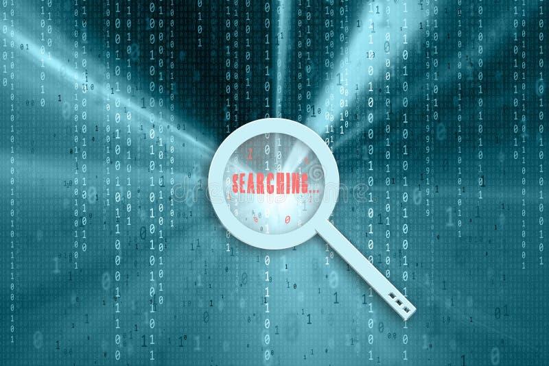 Het binaire gegevensvergrootglas zoeken stock illustratie