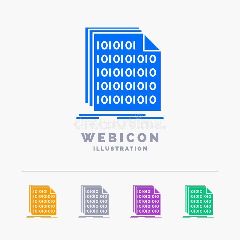 Het binaire getal, code, codage, gegevens, documenteert het Malplaatje van het het Webpictogram van 5 die Kleurenglyph op wit wor royalty-vrije illustratie