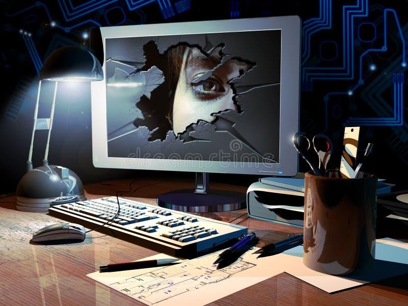 Het binnendringen in een beveiligd computersysteem vector illustratie