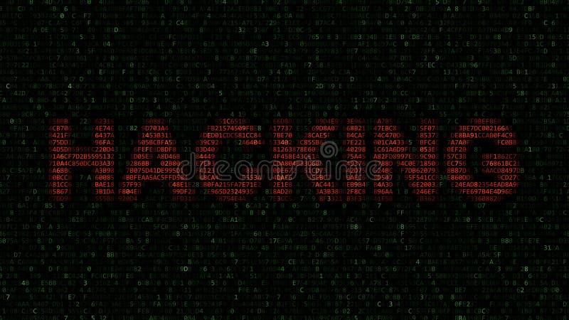 Het BINNENDRINGEN IN EEN BEVEILIGD COMPUTERSYSTEEM woord van hexadecimale symbolen op het computerscherm dat wordt gemaakt het 3d royalty-vrije illustratie