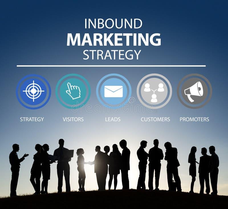 Het binnenkomende Marketing Strategiereclame Commerciële Brandmerken royalty-vrije illustratie
