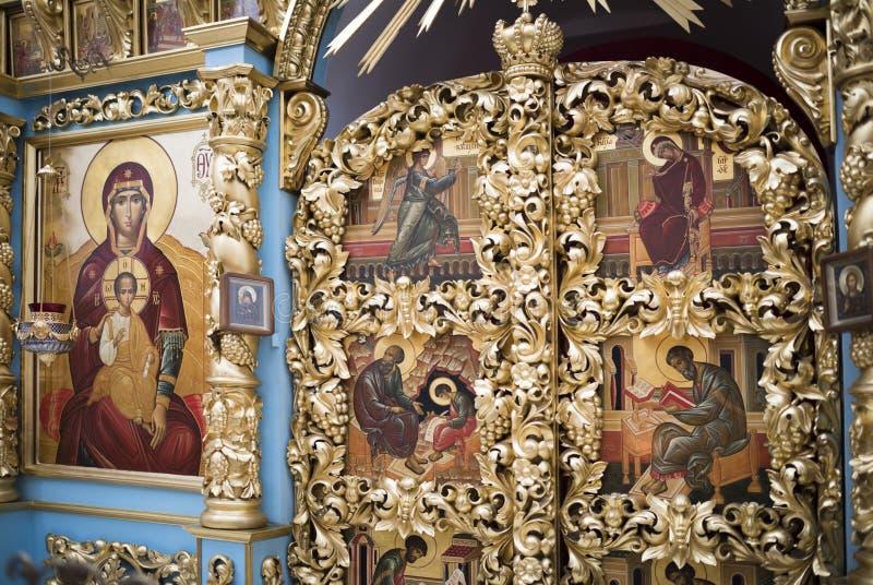 Het binnenland de tempel van het Don pictogram van de Moeder van God stock fotografie