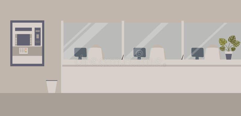 Het binnenland van het bankbureau: Bankbarrière met glas, van ATM of van het contante geld machine, bak Elegante binnenlandse fin vector illustratie