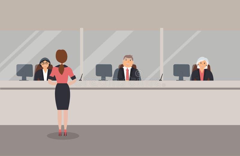 Het binnenland van het bankbureau: De bankbedienden zitten achter een barrière met glas en dienen de Bankklanten Elegante binnenl stock illustratie