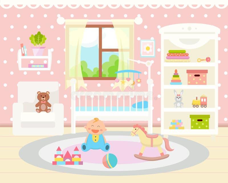 Het binnenland van de babyruimte Vlak Ontwerp Babyruimte met speelgoed, wieg, wapen vector illustratie